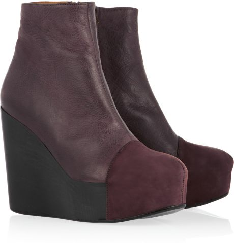 minimarket wood leather and suede wedge ankle boots in