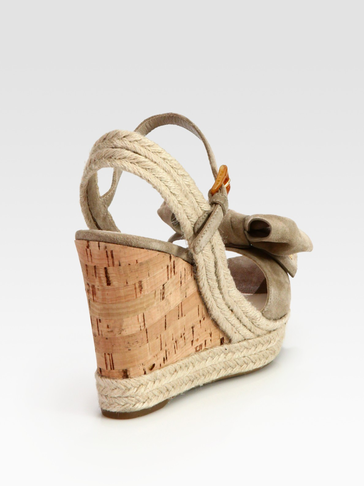 e7109fcc014 Prada Natural Suede Espadrille Slingback Wedge Sandals with Bow