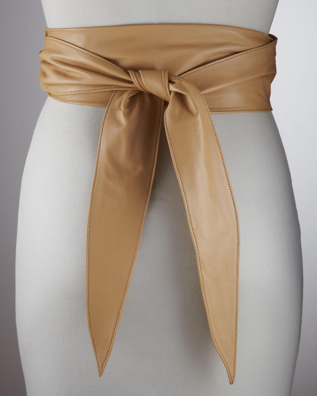Prada Leather Wrap Belt in Beige (no sze) | Lyst