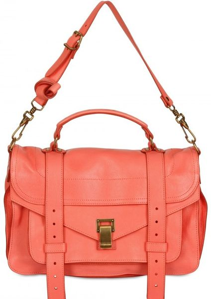 Proenza Schouler Ps1 Medium Lux Leather Satchel in Pink (coral)