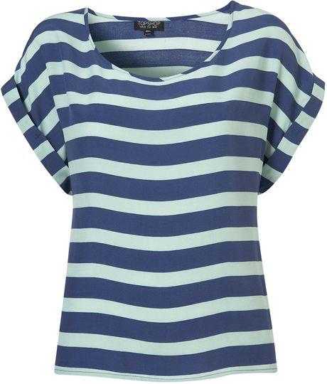 Topshop Stripe Tee in Blue (multi)