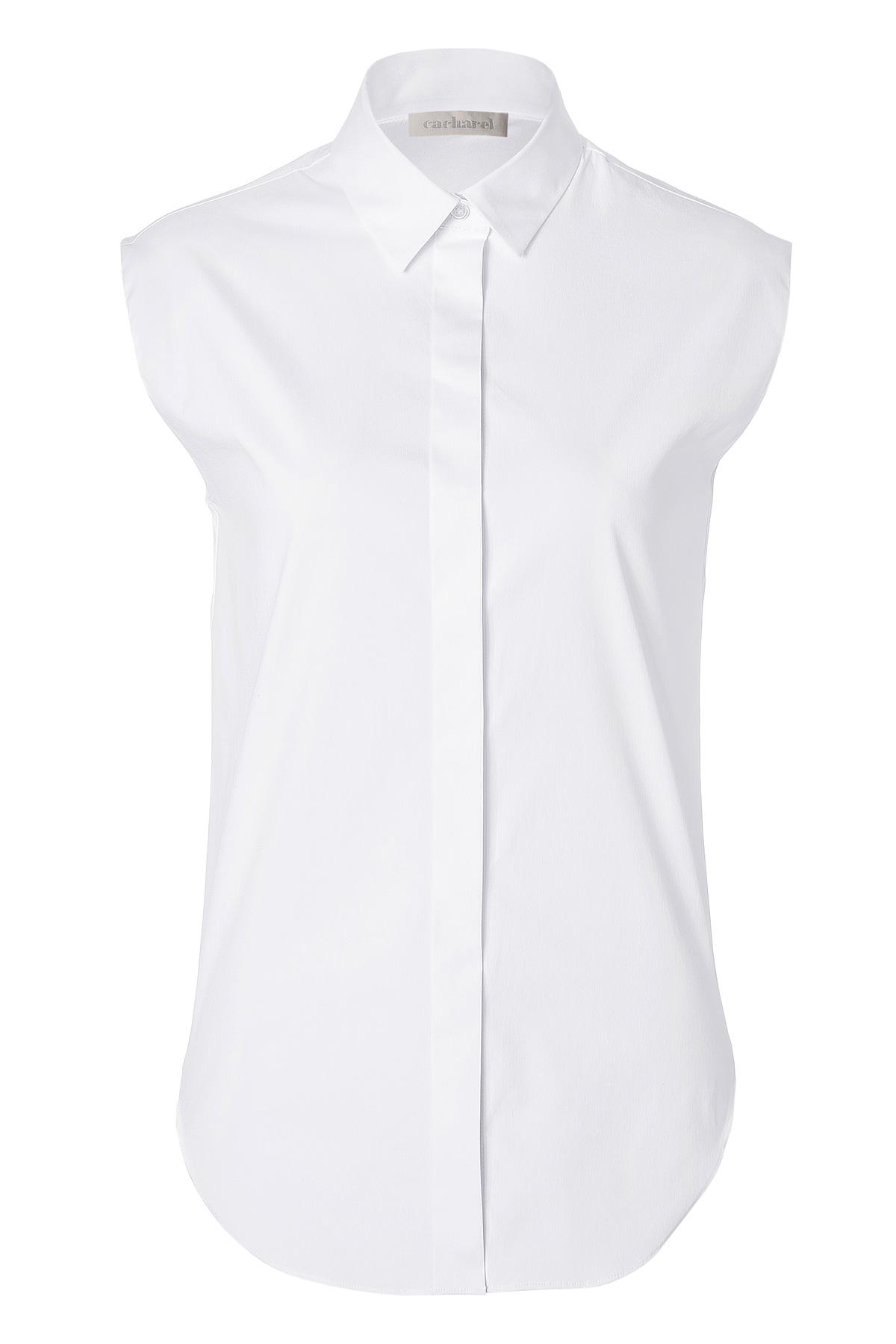 Cacharel white sleeveless button down in white lyst for Sleeveless cotton button down shirts