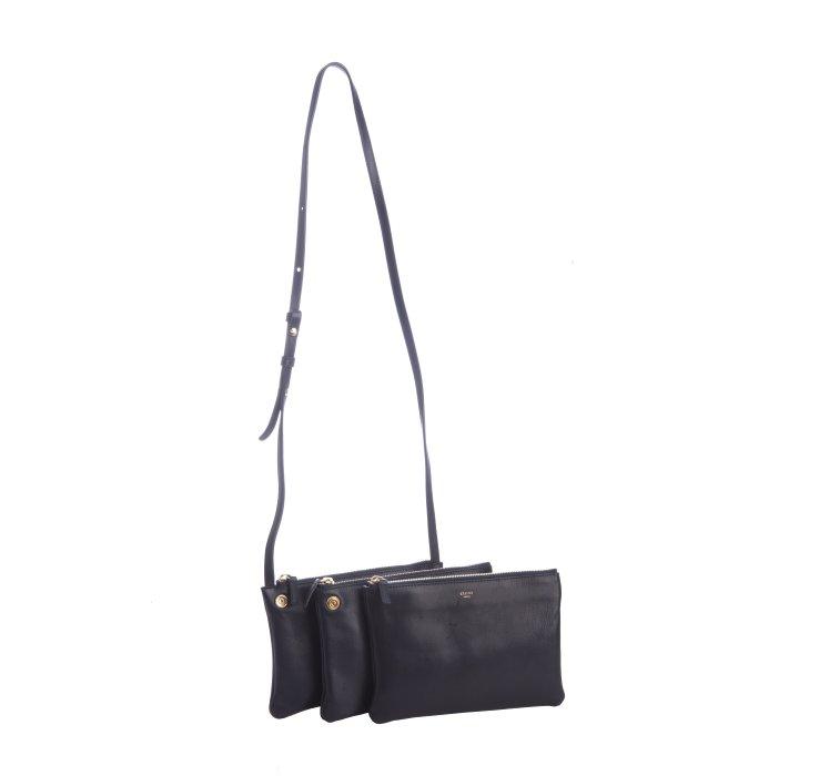 celine navy leather handbag trio