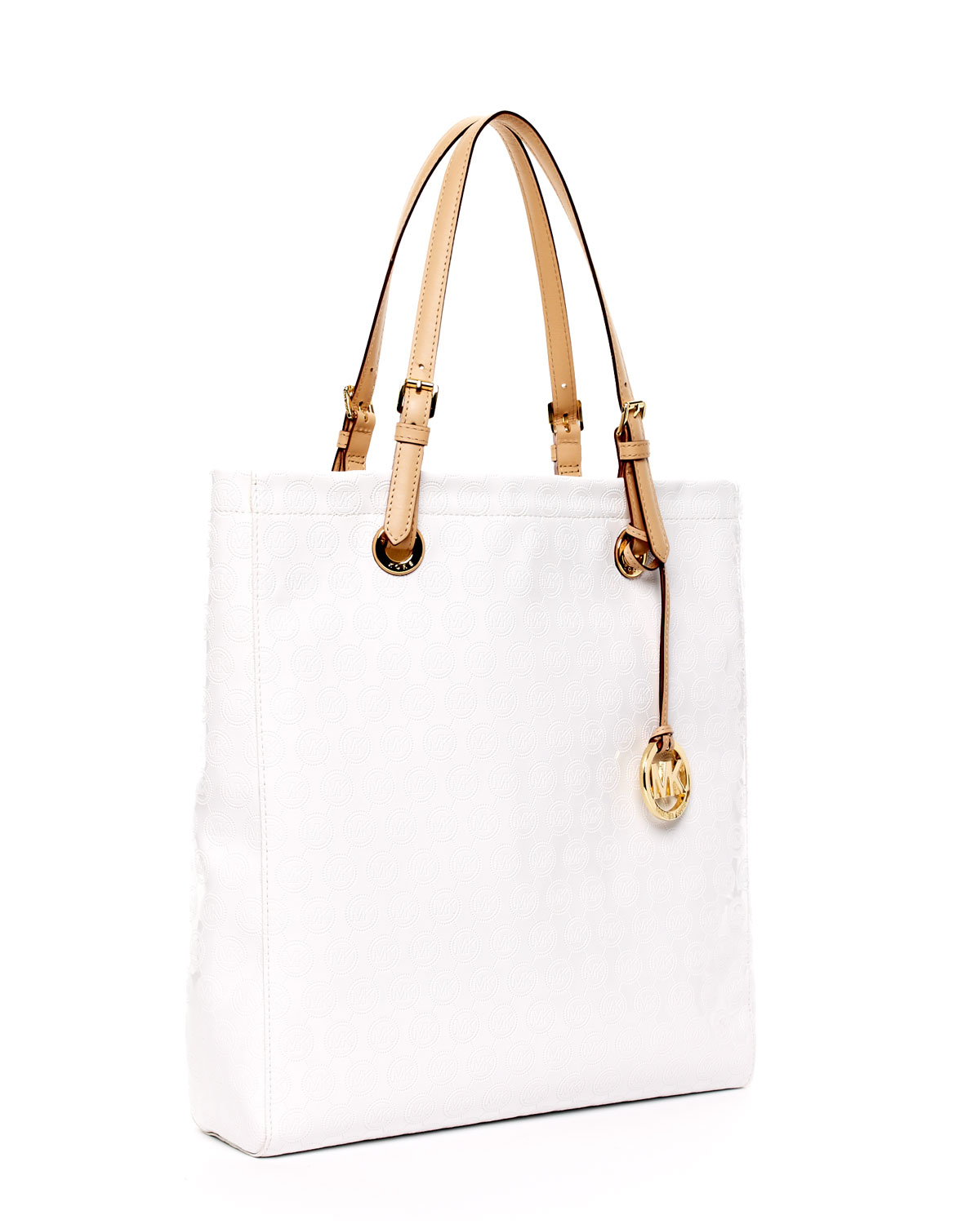 lyst michael kors jet set north south item tote white in white rh lyst com
