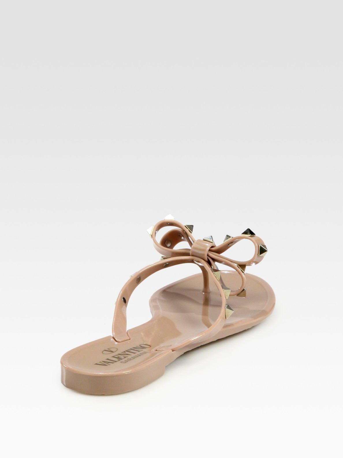 Valentino Rockstud Studded Thong Bow Jelly Flip Flops In -8452