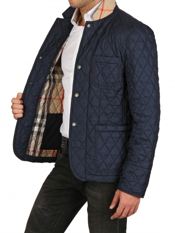 burberry brit quilted jacket in blue for lyst
