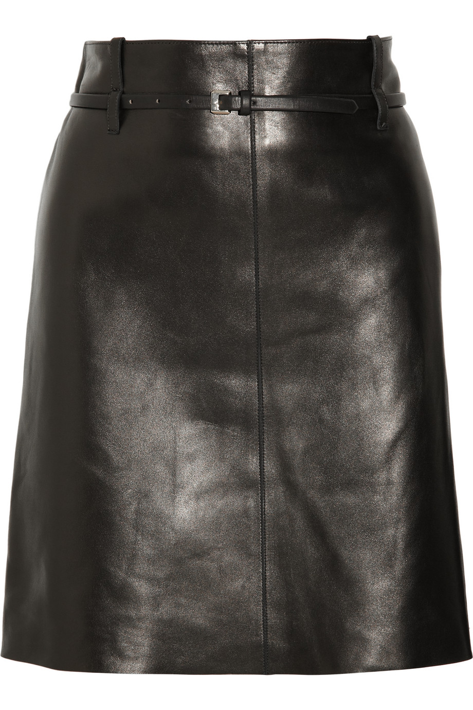 Chloé Belted Leather Skirt in Black | Lyst