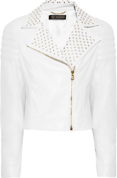 Versace Eyelet-Detailed Quilted Leather Biker Jacket in White