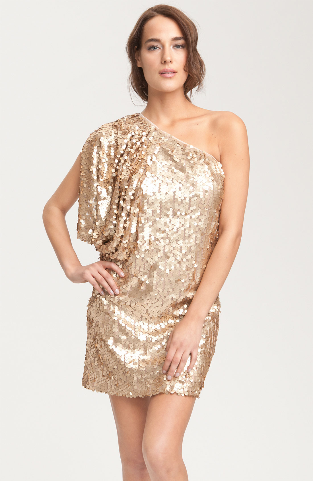 Aidan mattox Aidan By Matte Sequin One Shoulder Dress in Metallic ...