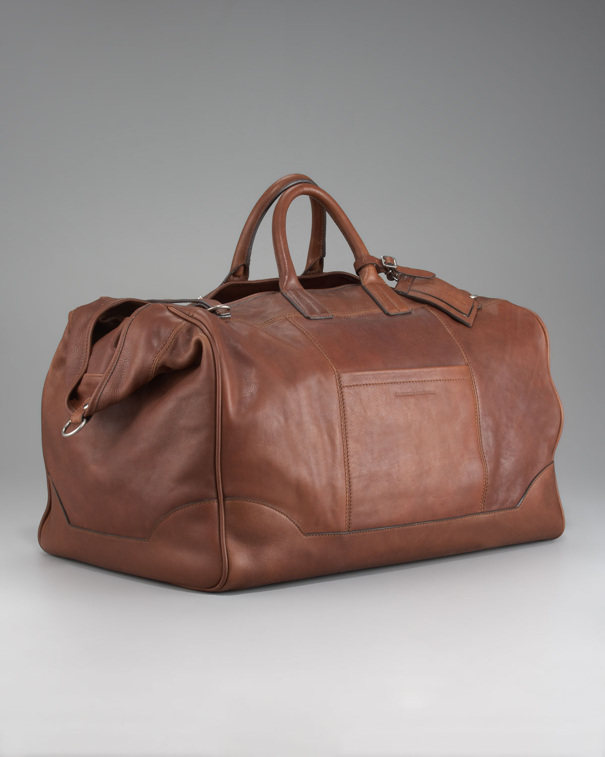 Brunello cucinelli Leather Travel Bag in Brown for Men | Lyst