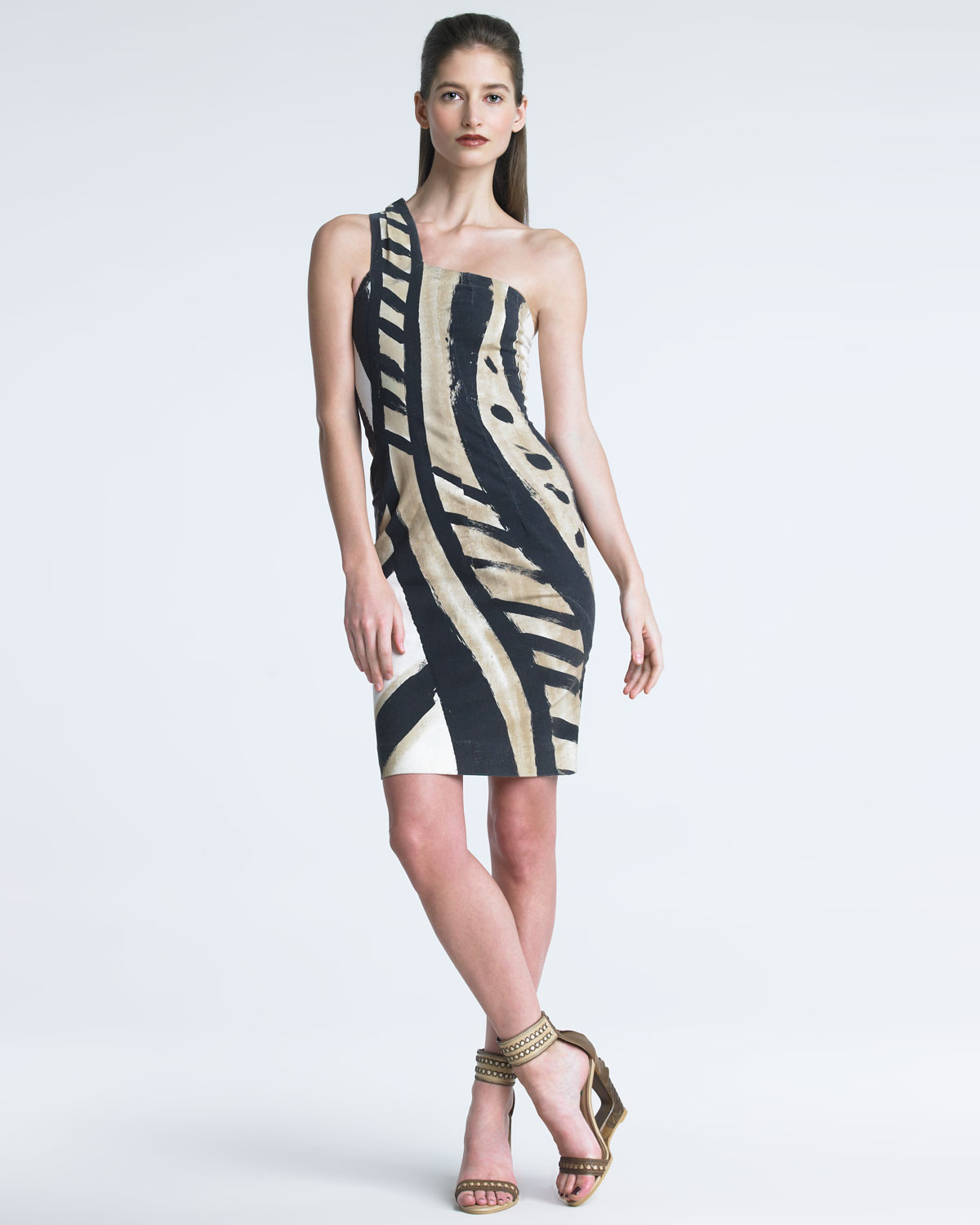 Donna karan new york serpent print dress in black bone for Donna karen new york
