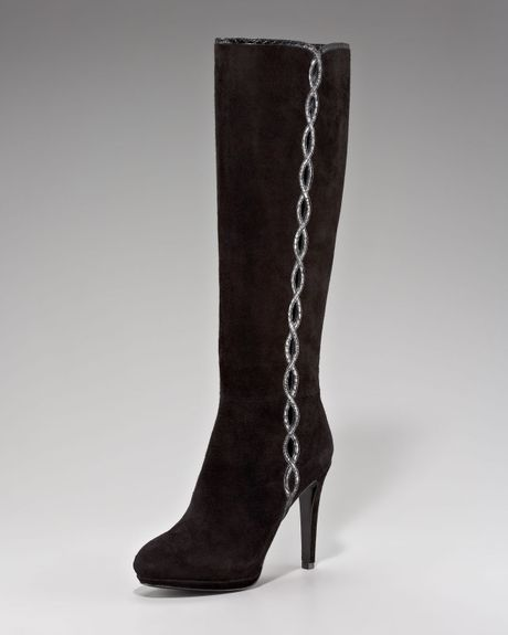 elie tahari barletta suede knee boot in black lyst