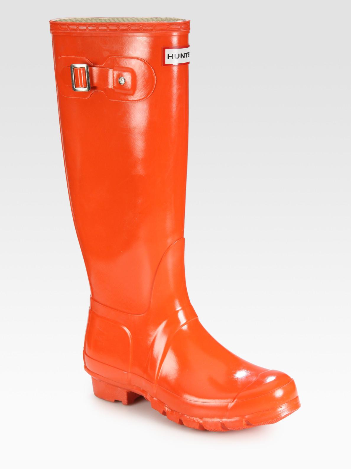 Hunter Gloss-finish Original Rain Boots in Orange | Lyst