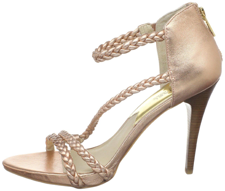 michael michael kors 39 alexa 39 high sandal t strap sandal in pink rose gold leather lyst. Black Bedroom Furniture Sets. Home Design Ideas