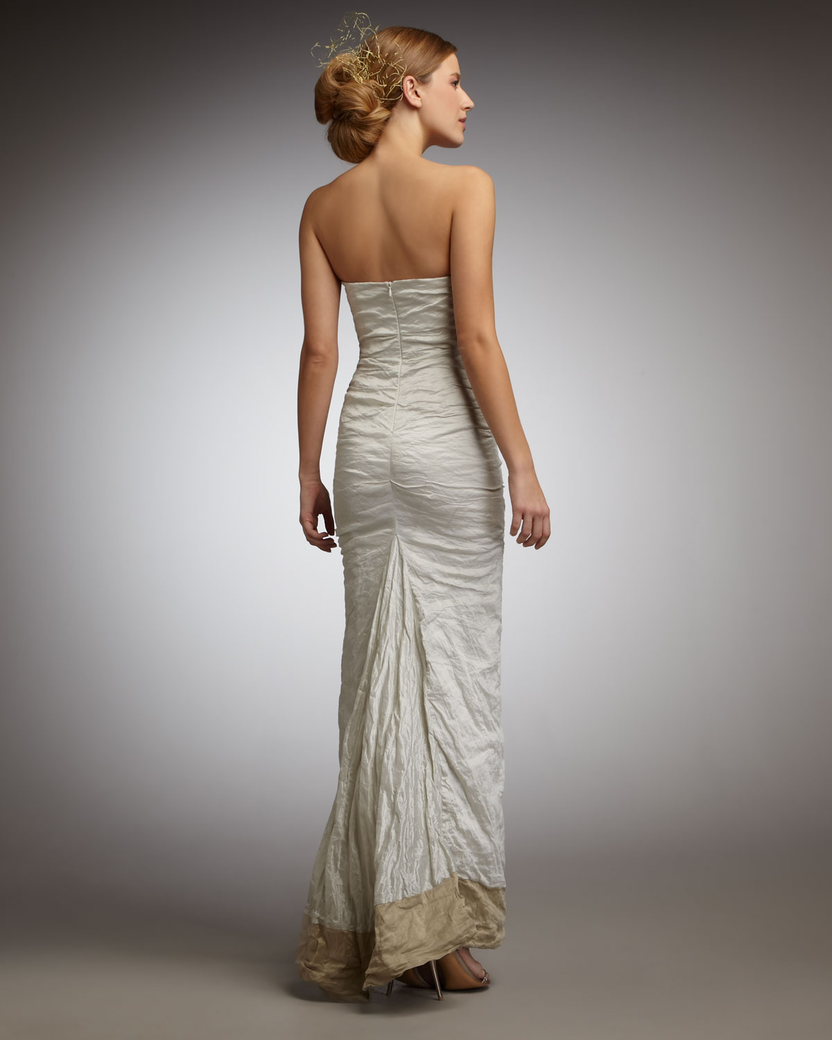 Gallery Nicole Miller Bridal Wedding Dresses: Nicole Miller Strapless Techno Metal Gown In White