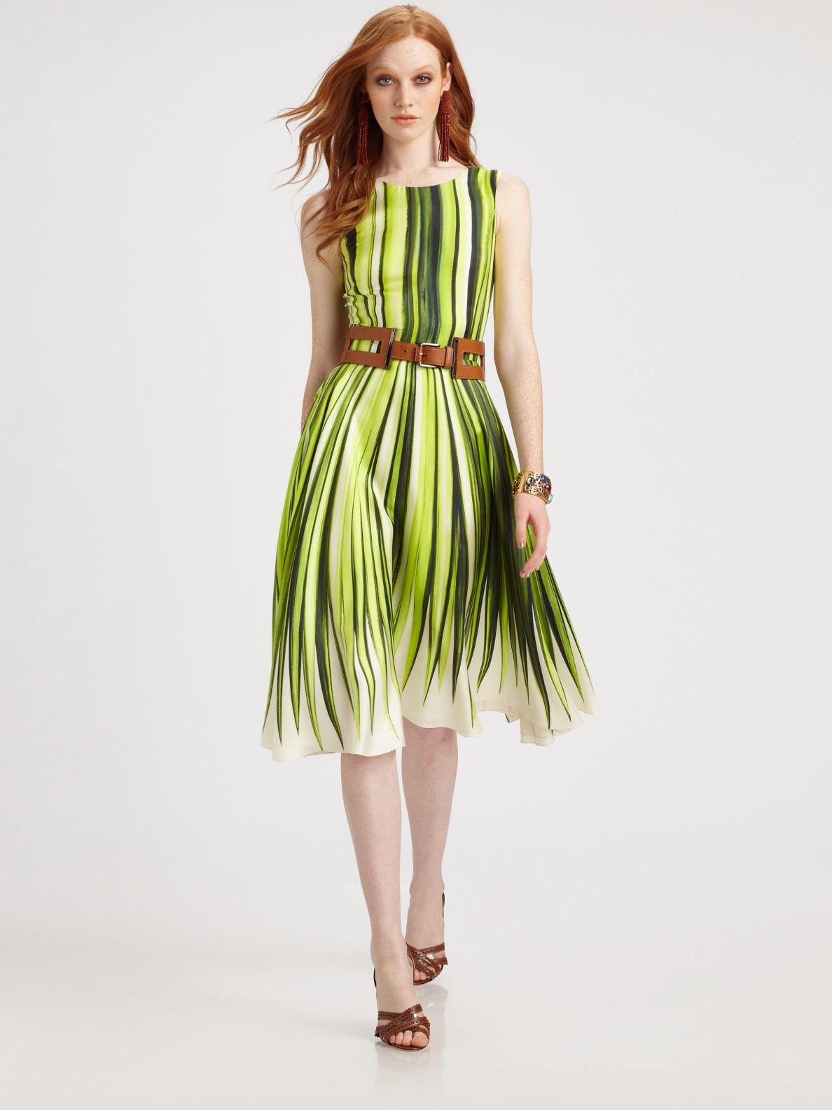 leaf print dress - Green Oscar De La Renta VGAdR7RI8o