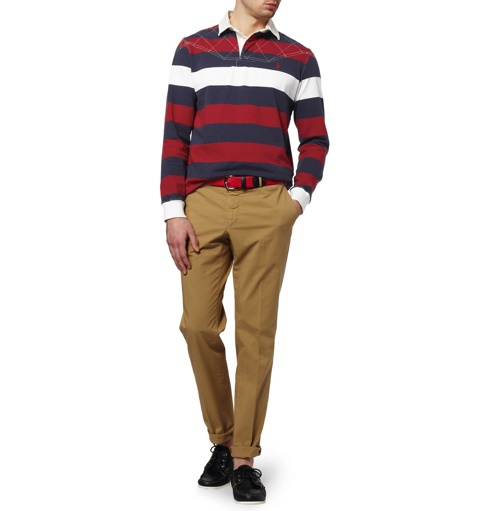 Polo Ralph Lauren Striped Cotton Rugby Shirt in Red (Gray ...