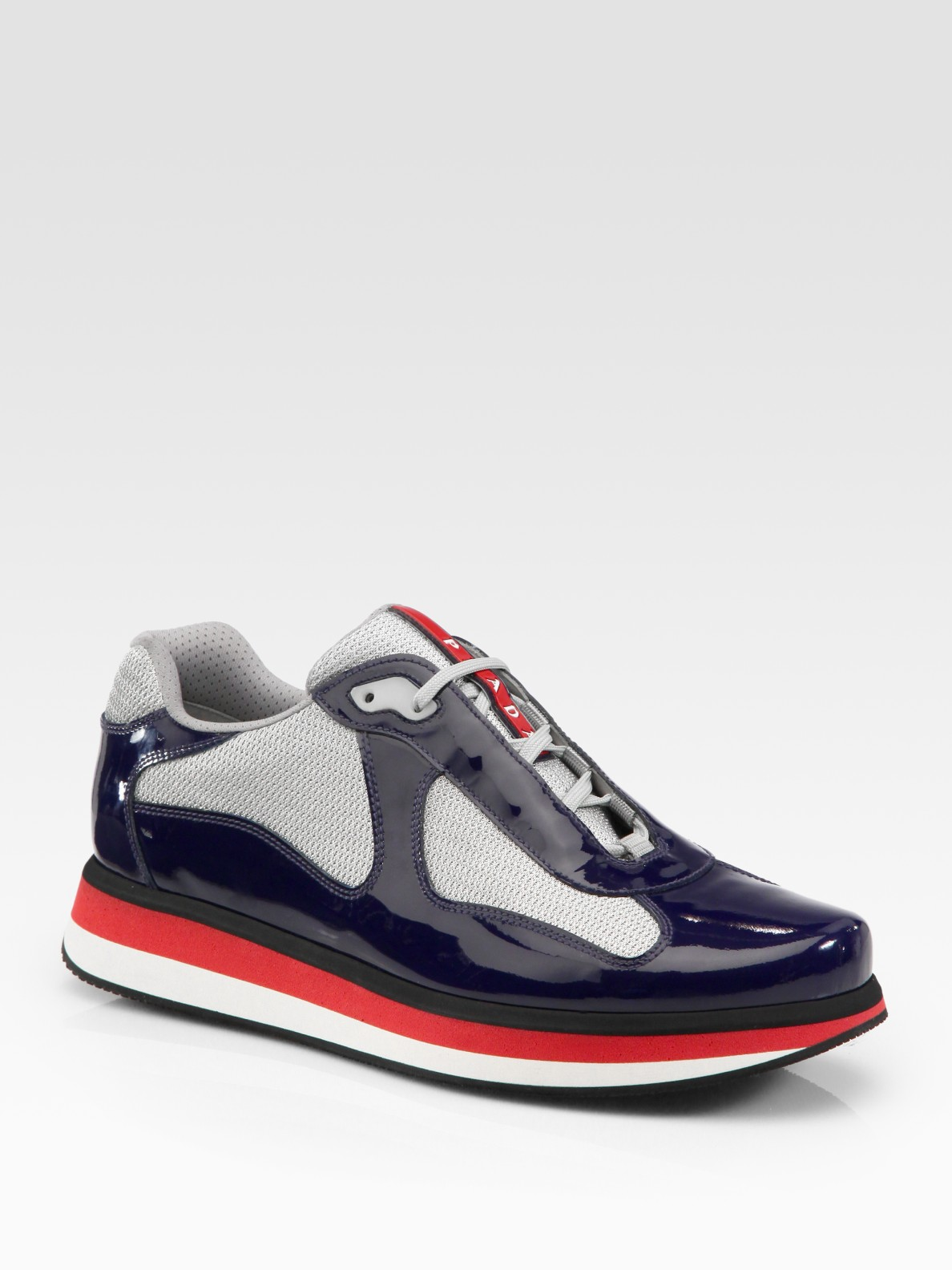 PradaAmerica's Cup Patent Leather Patchwork Sneakers w8mRISiF