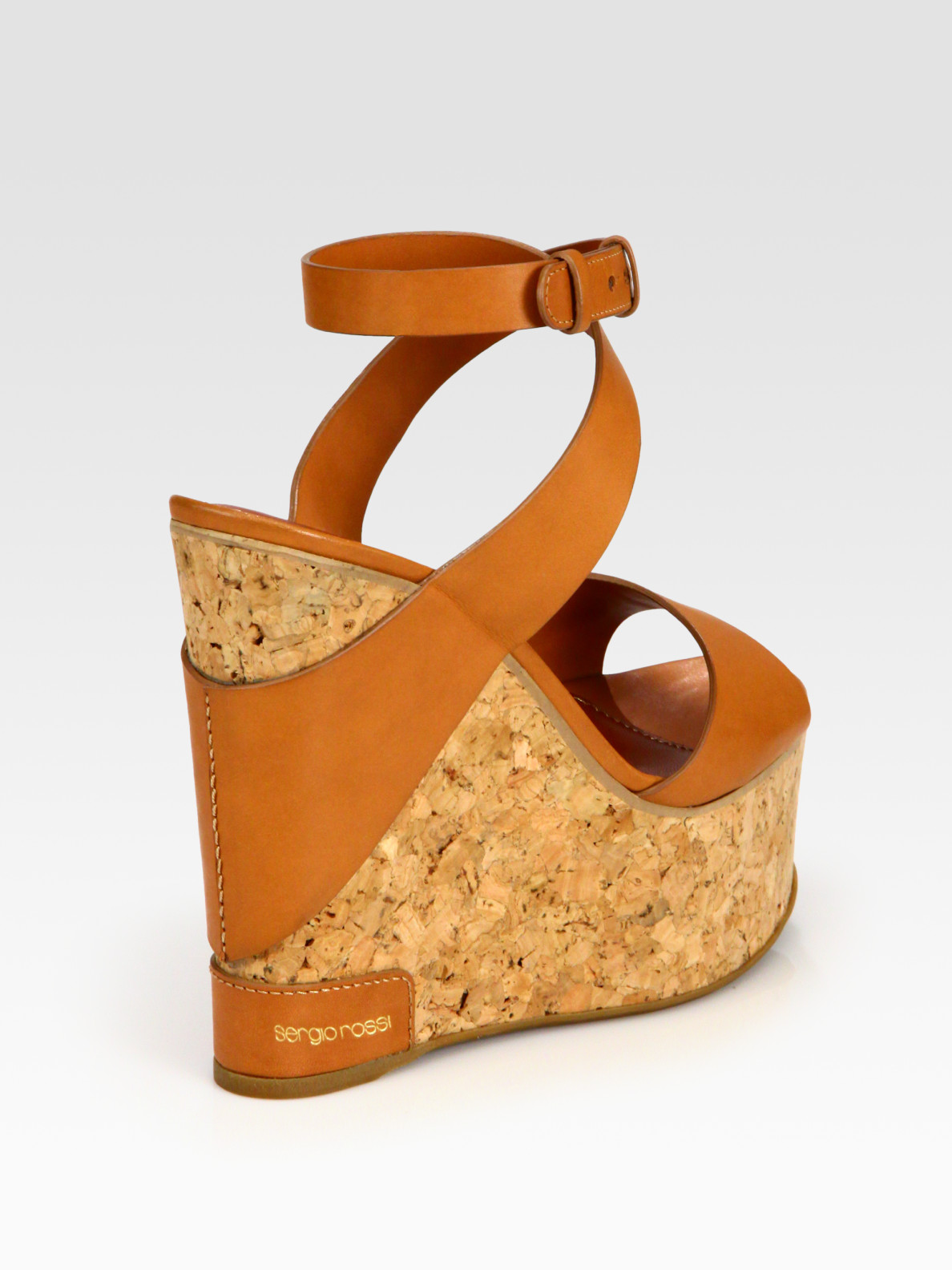 Lyst Sergio Rossi Leather Cork Wedge Platform Sandals In