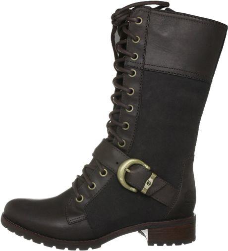 timberland bethel buckle knee high boot in brown