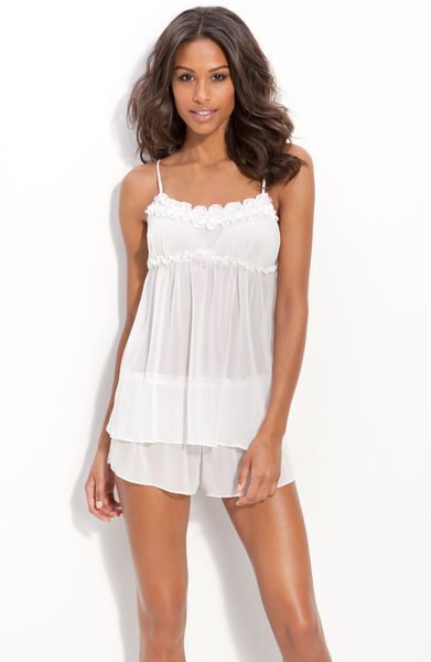 Betsey Johnson Chiffon Pajama Set in White (pearl)