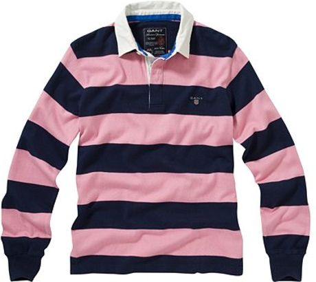 Gant Short Sleeve Block Stripe Rugby Shirt Pink In Blue