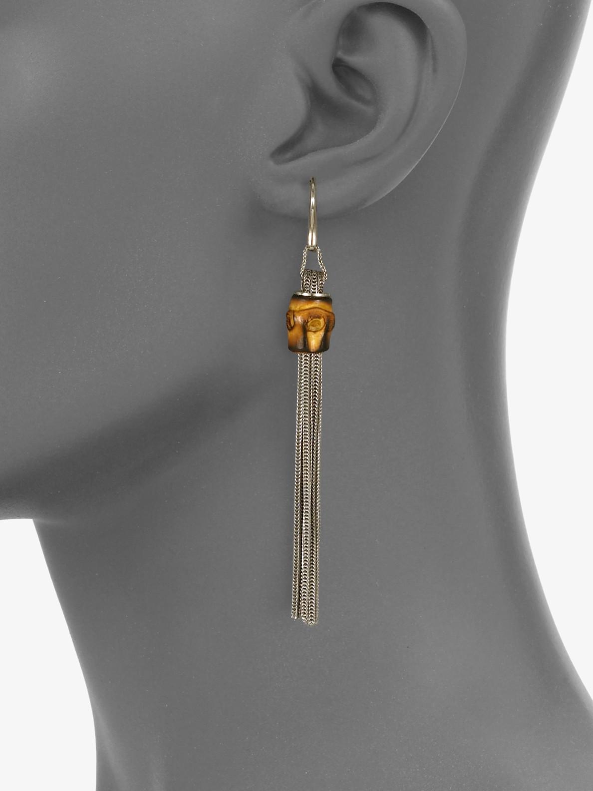 Gucci Bamboo Sterling Silver Foxtail Tassel Earrings In