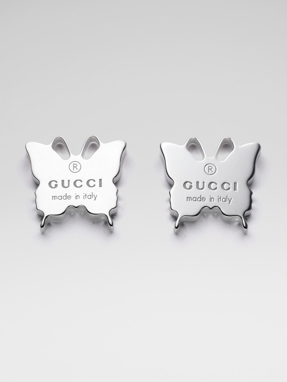 Gucci Sterling Silver Butterfly Earrings In Metallic Lyst