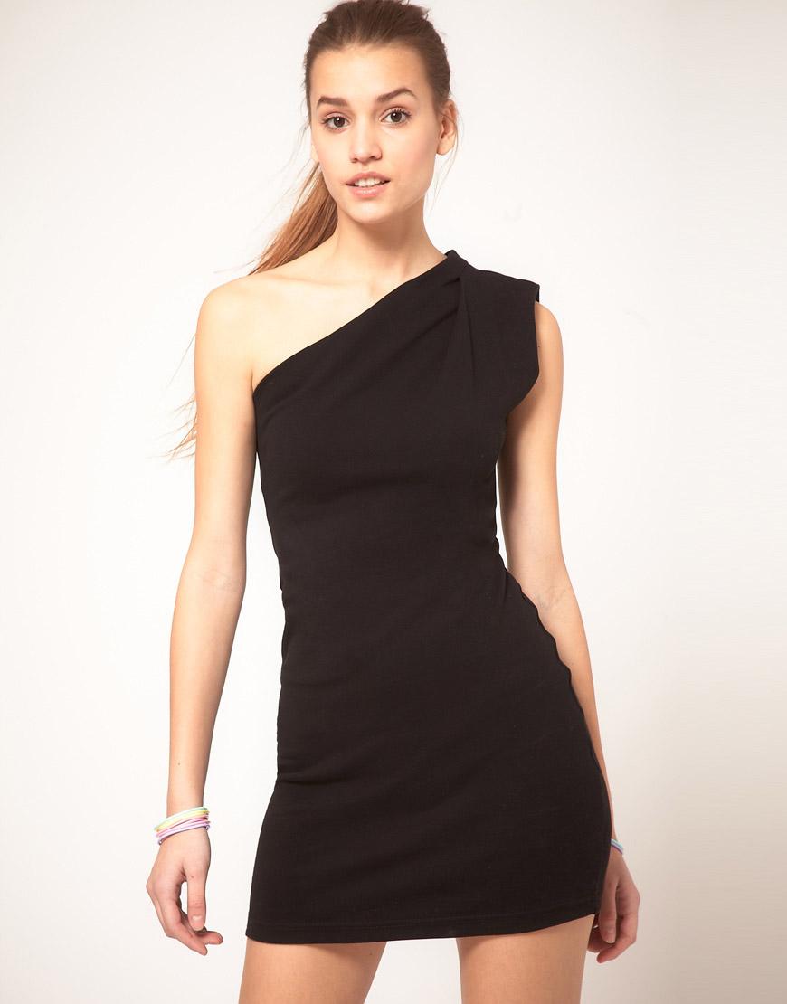 Lyst American Apparel One Shoulder Dress In Black