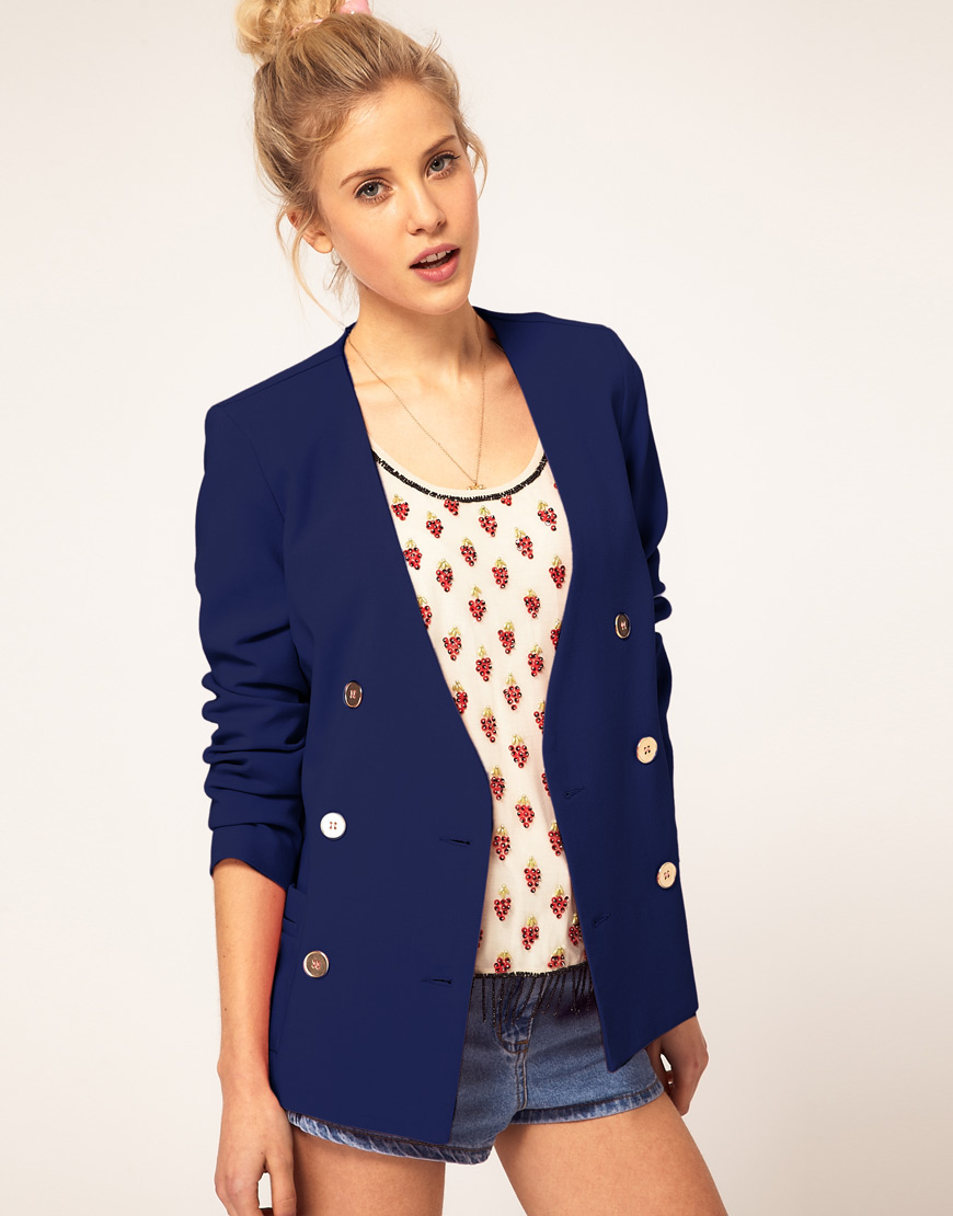 ASOS Collection Blue Asos Double Breasted Blazer with Gold Buttons