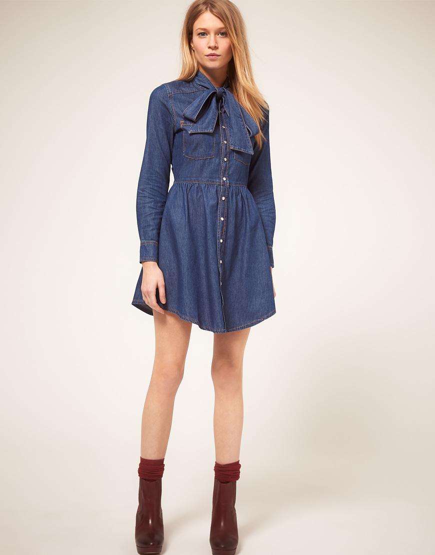 Exclusive Denim Adidas Top Ten 2000 Swaggy P Pes For: Asos Collection Asos Petite Exclusive Denim Dress