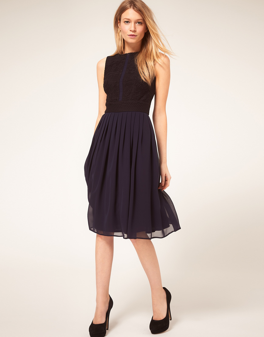 ASOS Collection Blue Asos Petite Midi Dress with Chiffon Skirt and Zip Back
