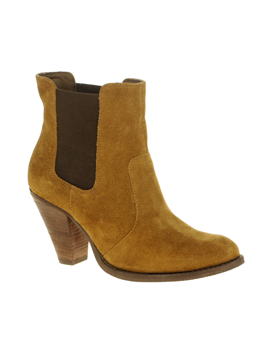 asos asos ajay suede chelsea western ankle boots in brown