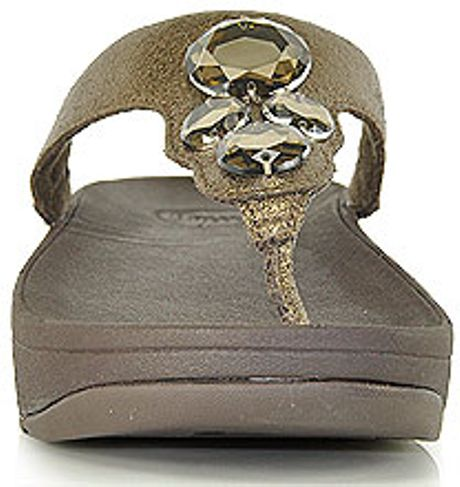Fitflop Lunetta Bronze Metallic Leather Jeweled Thong