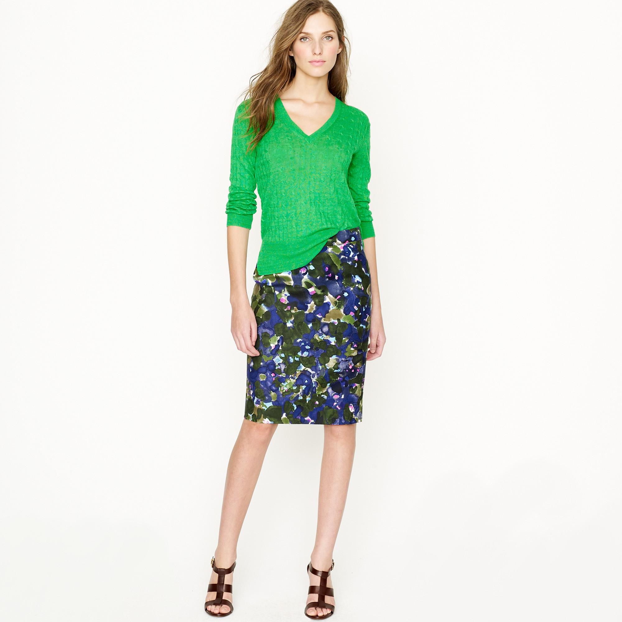 No 2 pencil skirt in gardenshade floral in blue for Jcrew com
