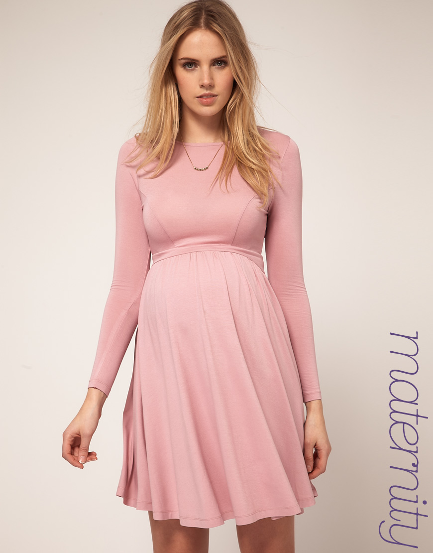 Topman asos maternity skater dress in jersey in pink lyst gallery ombrellifo Choice Image