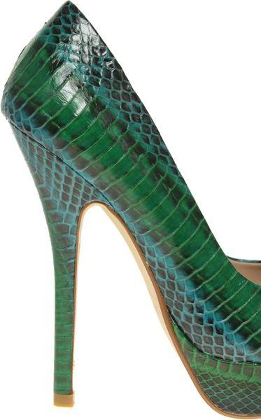 dune bono snake print platform court shoes in green lyst