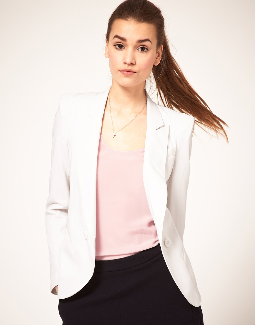 Asos Tailored Blazer With Power Shoulders in White | Lyst