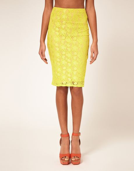 river island lace pencil skirt in blue navy lyst