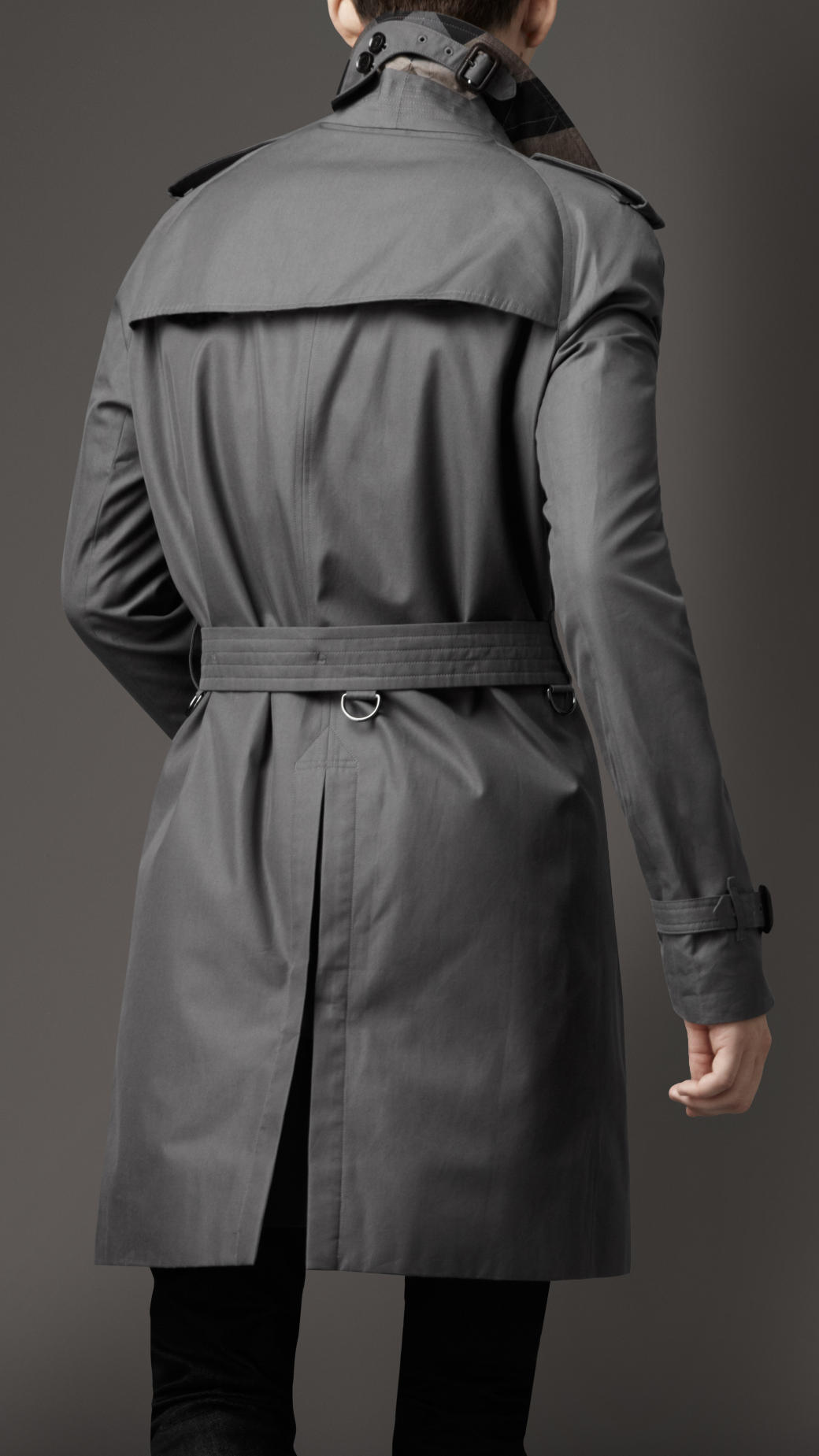 Burberry Classic Cotton Trench Coat In Gray For Men Lyst