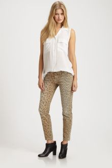 Current/Elliott The Low Rise Leopard Stilleto Jeans - Lyst