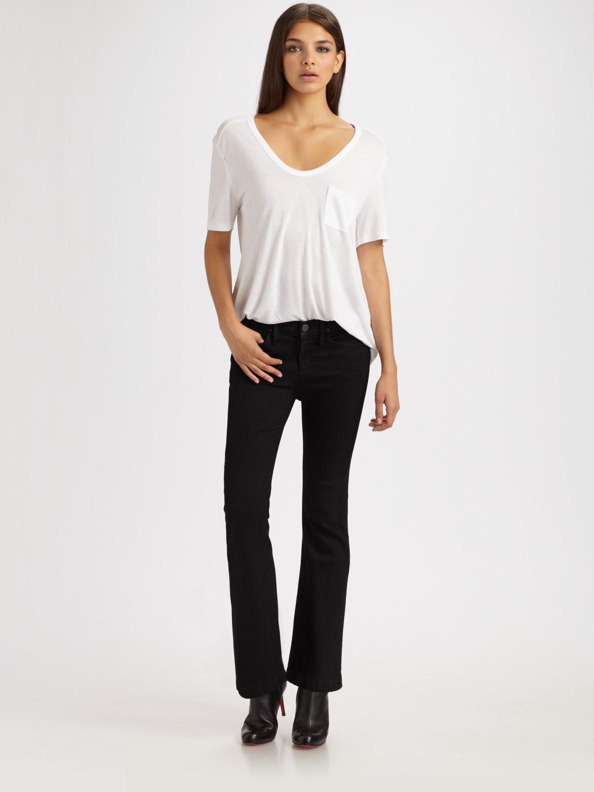 goldsign lush cropped flare jeans in black grey lyst. Black Bedroom Furniture Sets. Home Design Ideas