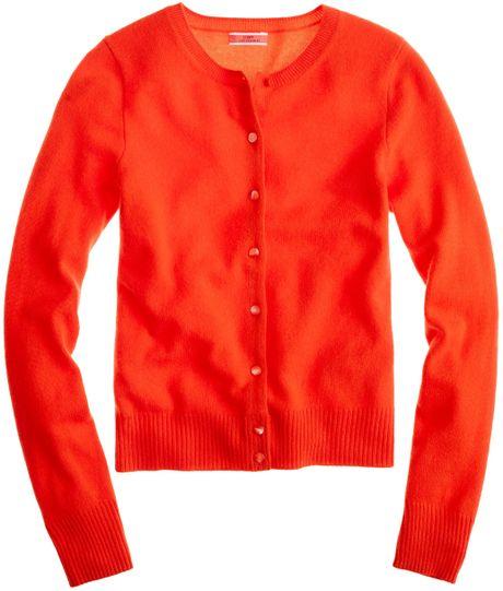 J.crew Cashmere Crewneck Cardigan in Red (bright persimmon)