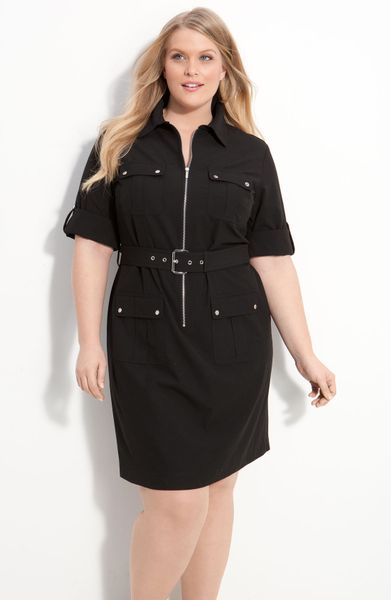 michael michael kors belted shirt dress in black lyst