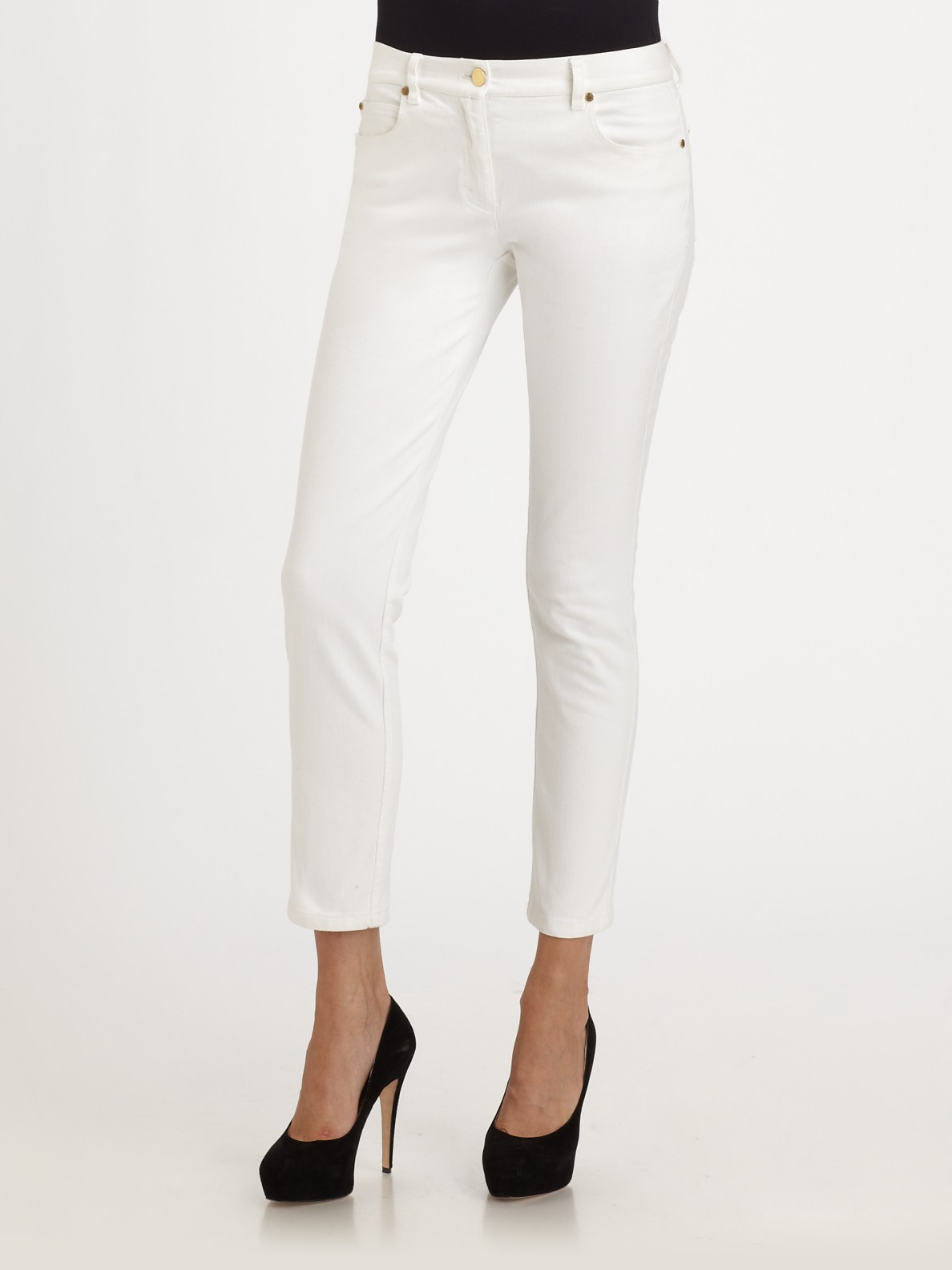 michael kors cropped jeans in white lyst. Black Bedroom Furniture Sets. Home Design Ideas