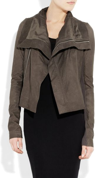 Rick Owens Washedleather Biker Jacket in Brown (gray) - Lyst