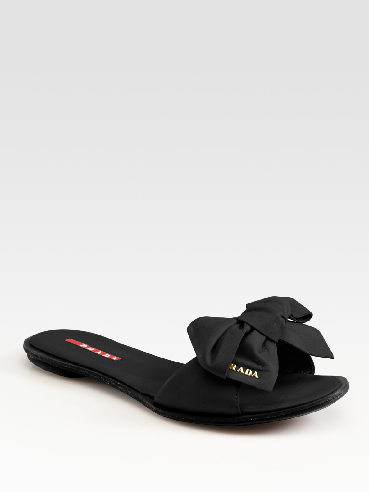 Lyst Prada Leather Bow Flat Slides In Brown
