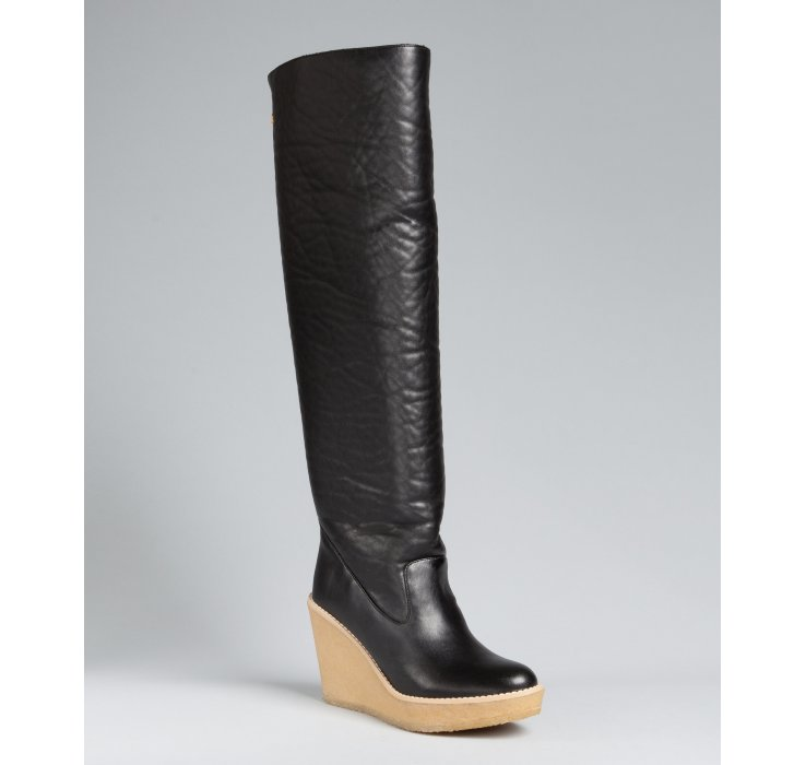 stella mccartney faux leather annael wedge boots in