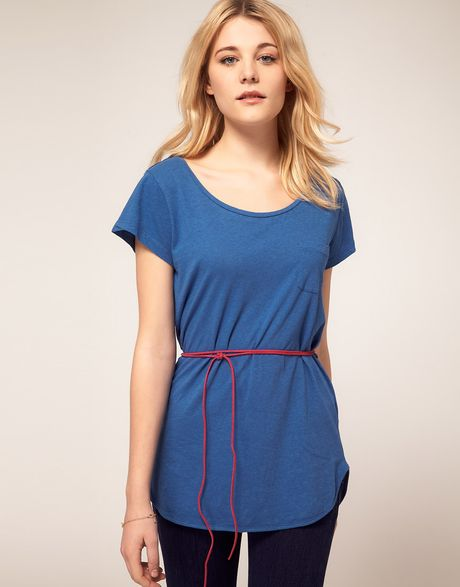 French connection t shirt tunic with belt in blue lyst for French blue t shirt