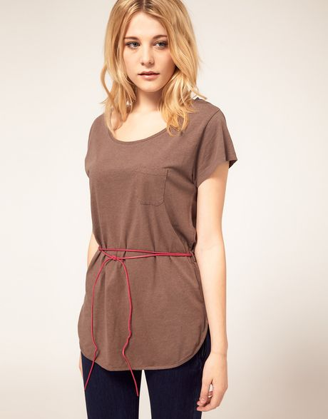 French connection t shirt tunic with belt in brown mink for French connection t shirt dress